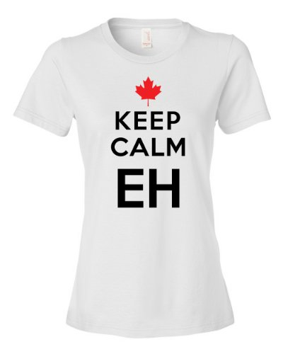 [Keep Calm Eh Canada Maple Leaf Mounties Uniform Tee Shirt For Our Friends Up North, Carry on Womens S white] (Mountie Uniform)