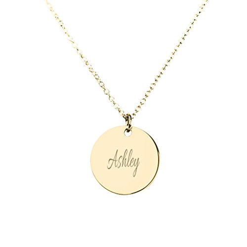 """14K Yellow Gold Personalized Name Disc Pendant with a 16"""" Chain by JEWLR"""