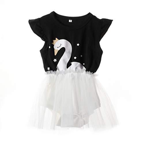 Anmino Toddler Baby Girl's Swan Pattern Printed Ballet Romper Tulle Lace Tutu Dress Skirt Set Bodysuit for Party