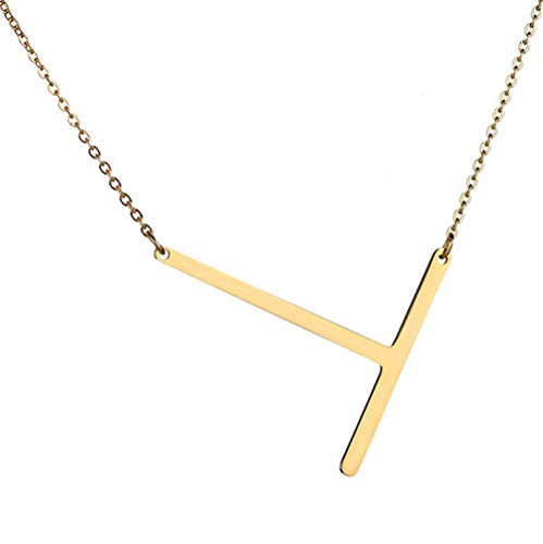 Jzone Friendship Stainless Steel Initial Alphabet 26 Letters Charms Pendnat Necklace from A-Z(Gold) (T)