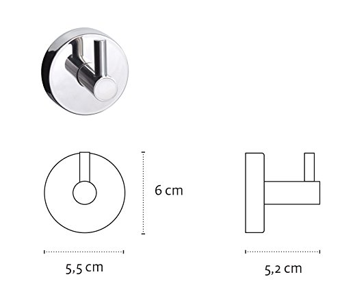 Kapitan Perchero individual y toalla gancho redondo acero inoxidable INOX 18//10 ba/ño soporte 5,2 x 5,5 x 6 cm uno