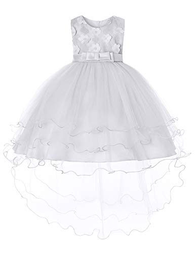 JOYMOM Baptism Dresses for Baby Girls,Infants Boutique O Neckline Sleeveless Big Satin Bowtie Ball Gowns Toddlers Skin Friendly Spin Christmas Dress White (90) 1-2 Years