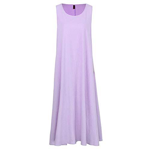 Summer Women Loose Midi Dress Sleeveless O-Neck Casual Solid Sundress Elegant Ladies Dresses,Purple,XXXL