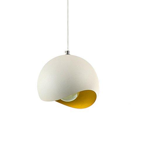 Modern Industrial Nordic Globe Ceiling Pendant Light - YIKEGE Minimalist Creative Hanging Lighting Semi-Circle Eggshell 11.81in Wide Fixture Edison Light for Kitchen Dining Room Bars Loft - Yellow ()