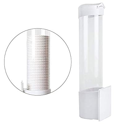 Cup Dispenser, Pevor Paste or Screw Plate Mountable Cup Holder Fits 3oz - 7oz Flat Bottom or Cone Cups Cup Dispenser Wall Mounted 16in Tube Length