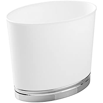MDesign Oval Wastebasket Trash Can For Bathroom, Kitchen, Office    White/Chrome