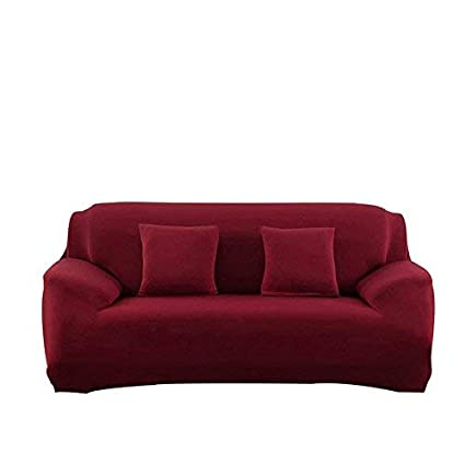 Forcheer Stretch Couch Cover Big Leather Sofa Slipcovers Furniture Pet Protector For Living Room Spandex Smooth Fabric Big Sofa Wine Red