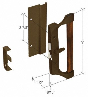 Surface Mount Sliding Glass Door (CRL Bronze/Wood Hook-Style Surface Mount Sliding Glass Door Handle 3-7/8