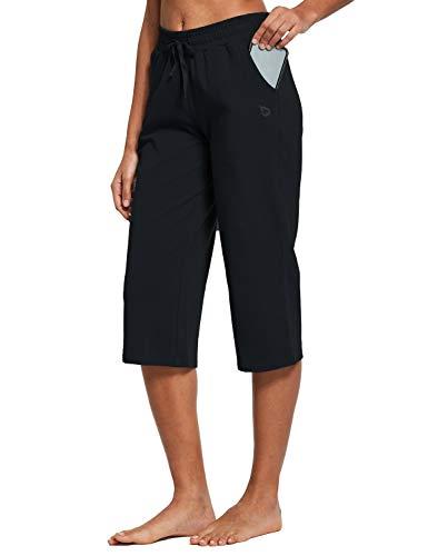 BALEAF Women's Active Yoga Lounge Indoor Jersey Capri Pocketed Walking Crop Pants