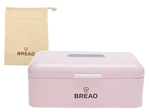 Vintage Bread Box For Kitchen Stainless Steel Metal 16.5'' x 9'' x 6.5'' with viewing window + FREE Bread Bag; Large Bread, Loaves, Pasgtires Bin storage (Pink) by E&B