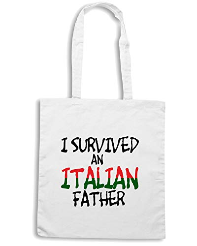 Borsa Shopper Bianca OLDENG00118 I SURVIVED AN ITALIAN FATHER