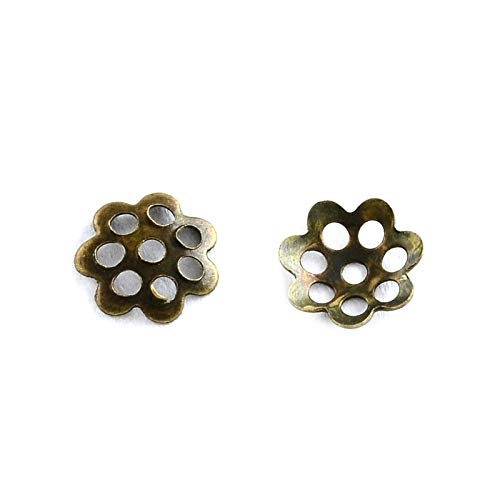 (1000pc Antique Brass Pierced Metal Small Daisy Flower Bead Caps for Jewelry Making- 6mm)