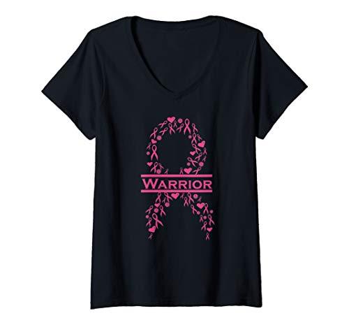 (Womens Breast Cancer Warrior Pink Awareness Ribbon V-Neck T-Shirt)