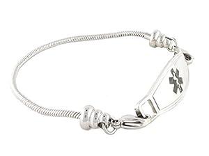 Medical Alert Bracelet for Women | Many Pre-Engraved Conditions Available | Pan-Dorra, Black