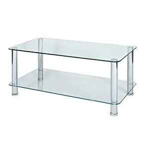 Levv Glass Coffee Table With Chrome Legs Clear Kitchen Home