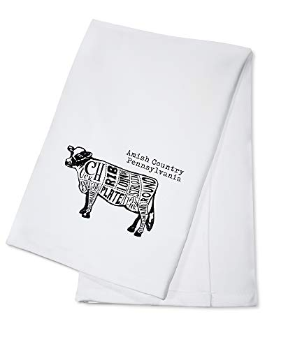Amish Country, Pennsylvania - Butchers Block Meat Cuts - Black Cow on White (100% Cotton Kitchen Towel) (Best Cut Of Meat On A Cow)