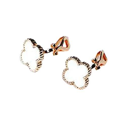 Enamel Cute White Luck Clover Clip on Earrings Flower Leaf Non Pierced Prom Jewelry for Girls Women