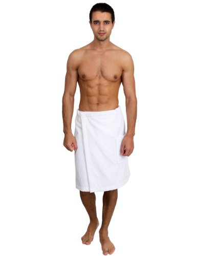 Mens Towel Wrap (TowelSelections Cotton Terry Bath Towel Shower Wrap for Men Small/Medium White)