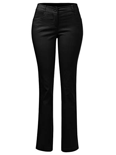 (Instar Mode Women's Comfy Bootcut Curvy Fit Trouser Pants, Ipaw032 Black, XX-Large)
