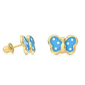 14k Yellow Gold Enamel Butterfly Stud Earrings with Secure Screw-backs