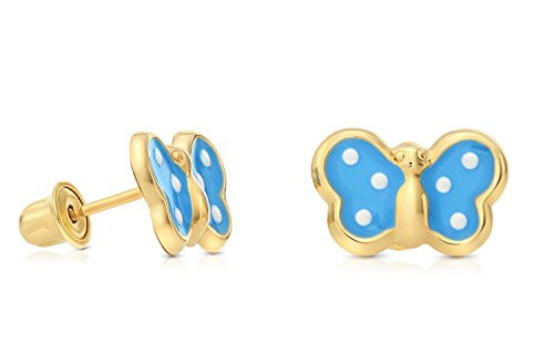 14k Yellow Gold Butterfly Stud Earring in Baby-Blue and White Enamel with Secure Screw-backs (Baby (Blue Enamel Butterfly Post Earrings)
