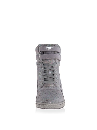 361486d5d3b1 Puma Sky Wedge Iri Suede Womens Platform Sneakers Shoes Gray Size 9