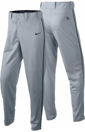Nike Boys' Swingman Dri-FIT Piped Baseball Pants (Grey/Black, Large) by Nike