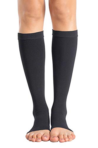 +MD Knee High Compression Socks 23-32mmHg Open-Toe Medical Support Stockings for Swelling, Varicose Veins, Edema, Spider Veins Blacks