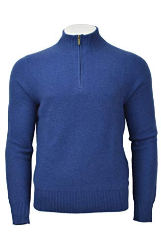 Brooks Brothers Men's Textured Knit 100% Cashmere 1/2 Zip Sweater Blue Medium