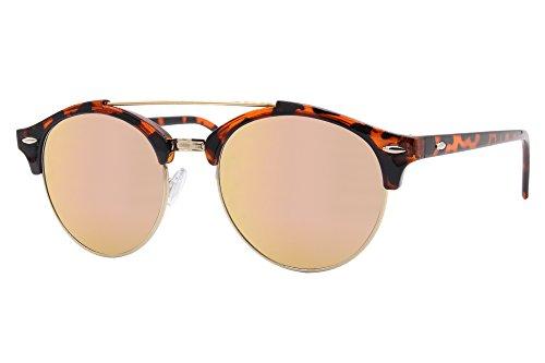 Cheapass Lunettes de Soleil Clubmaster noires marron rondes verres effect  miroir aspect bois accessoire de design ade64dfecc39