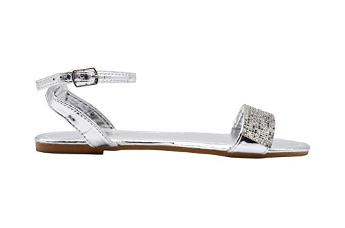 (Via Rosa Ladies Fashion Sandals 9 M US Metallic Slingback Ankle Flats with Rhinestones Silver)