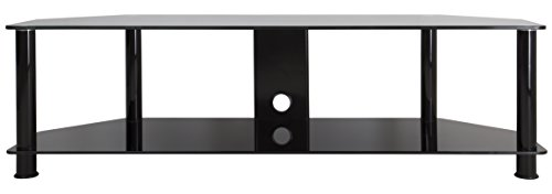 AVF SDC1400CMBB-A TV Stand with Cable Management for up to 65-inch TVs, Black Glass, Black Legs