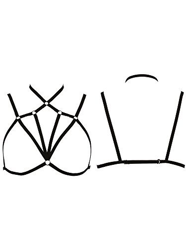 SATINIOR Women Strappy Harness Sexy Hollow Out Body Cross Cage Bra Elastic and Adjustable Cupless Bralette Straps Lingerie, Black (Style 4)