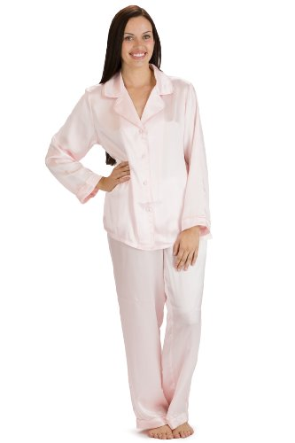 Fishers Finery Women's Classic Pure Mulberry Silk Pajama Set with Gift Box, Petal Pink, Large