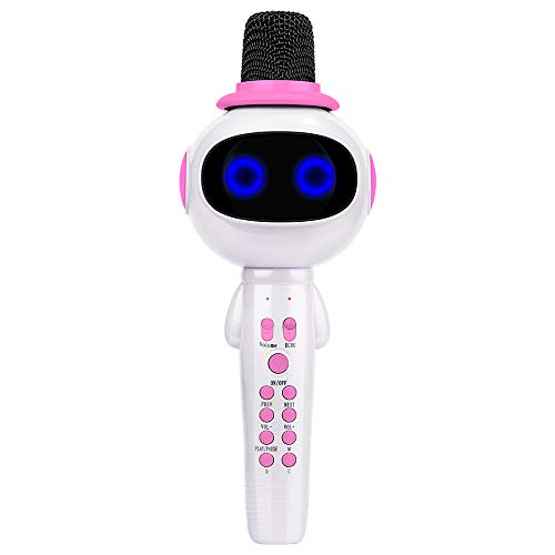 BONAOK Kids Wireless Bluetooth Karaoke Microphone with Magic Sound & Colorful LED light, 5 in 1 Portable Handheld Party Karaoke Speaker Machine Birthday Gift for Android/iPhone/iPad/PC (pink) by BONAOK (Image #7)
