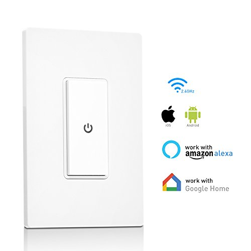 Smart Light Switch,Ankuoo 15A Smart WiFi Light Switch with Remote Control and Timer, Works with Alexa, Google Home, No Hub Required, Easy and Safe Installation, ETL and FCC Listed. (1pack)