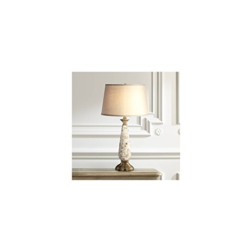 Berach Coastal Table Lamp Mother of Pearl Mosaic Tapered Drum Shade for Living Room Family Bedroom Bedside Nightstand - Barnes and Ivy (Pearl Mother Of Lamp Shade)
