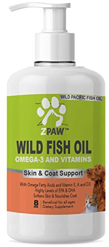 ZPAW Wild Fish Oil Liquid with Pump for Dogs and Cats | Omega 3 Fatty Acids EPA + DHA and Vitamin E A and D3 for Skin & Coat Allergy Control Joint Function