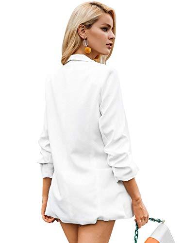 Blazer Blazer Blazer A Elegante Maglia Manica Bianca Outwear Lungo Lunga Blazer Chic Giovane Donna Business Moda Monocromo Giacca Bavero Autunno Erq7rH