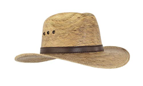 (Palm Leaf Straw Trilby Wide Brim Fedora Golf Sun Hat for Men or Women, UV UPF Protection)