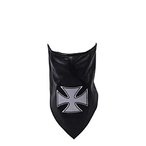 Black White Genuine Soft Leather Face Mask Maltese Iron Cross Fleece Lined Biker Bandanna Adjustable Strap Unisex