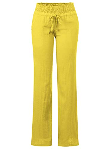 (Design by Olivia Women's Comfy Drawstring Elastic Waist Linen Pants with Pocket (S-3XL) Yellow L)