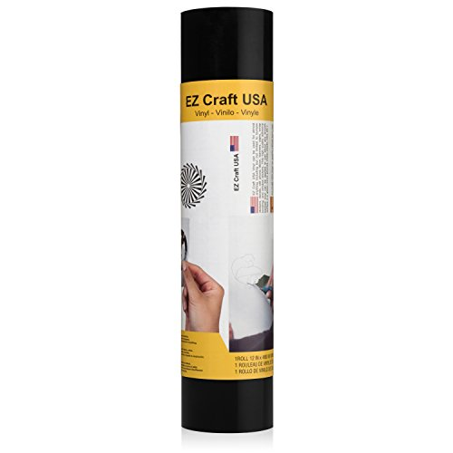 """Adhesive Glossy Black Vinyl Roll - HUGE Glossy Adhesive Permanent Black Vinyl Rolls - 12""""x40FT Black Vinyl Sheets are The BEST Vynil - EZ Craft USA Black Vinyl Wrap Works with Cricut and Other Cutters"""