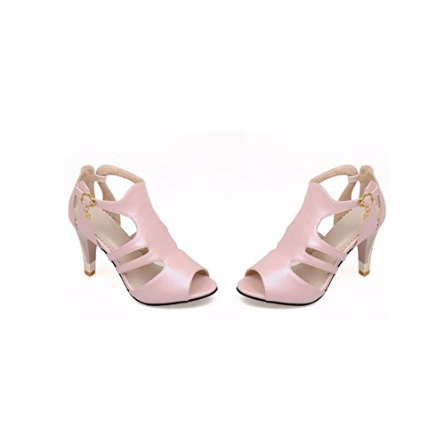 Temperament Deko Pink Sommersandale Tau Mund Fisch Metall High toe Heel Sandalen Schuhe weibliche qISw6I41