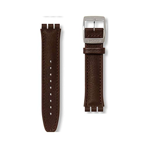Dark Brown Leather Strap for Swatch Watches Irony Chrono AYCS400 ()