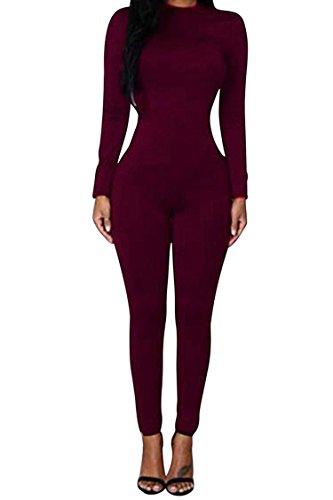CHICE IRIS Female Unitard Zentai Catsuit Dancewear Skin Tights Costume Wine Red L
