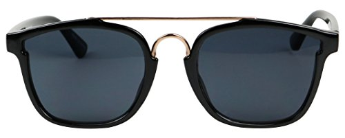 Basik Eyewear - Modern Square Shape Flat Top Double Metal Brow Bar Sunglasses (Black w/ Gold Bar, - Bar Sunglasses