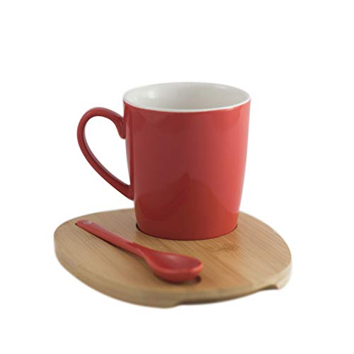 Amuse- Aquarelle Collection- Round Mug with Bamboo Tray and Spoon (12 oz.)- Gift Box -