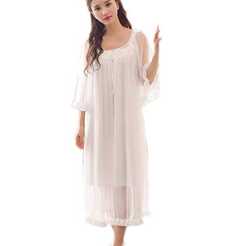 Womens Sexy Vintage Loungedress Nightgown 2 pcs Victorian Sleepwear Nightshirt Girls Pajamas (White) ()
