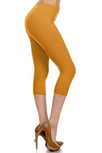 - NCPRX128-Mustard Capri Solid Leggings, Plus Size